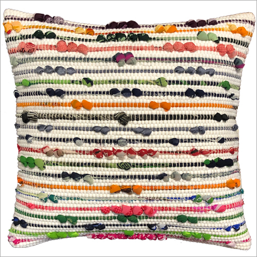 Handwoven Chindi Cotton Cushion Cover