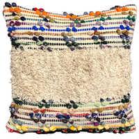 Fancy  Cotton And Chindi Cushion Cover