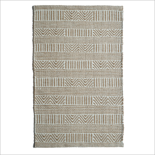 Fancy Handwoven Jute and Cotton Rug