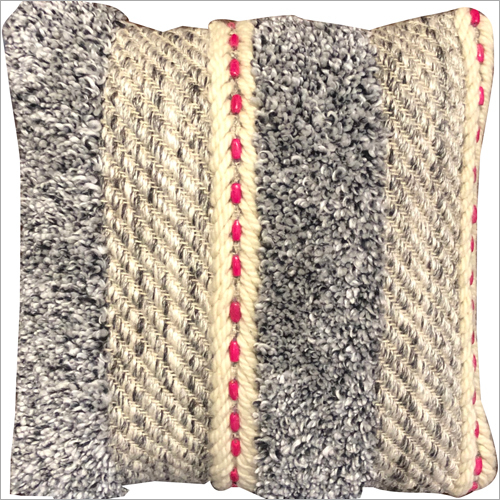 Handwoven Wool and Polyester Cushion Cover