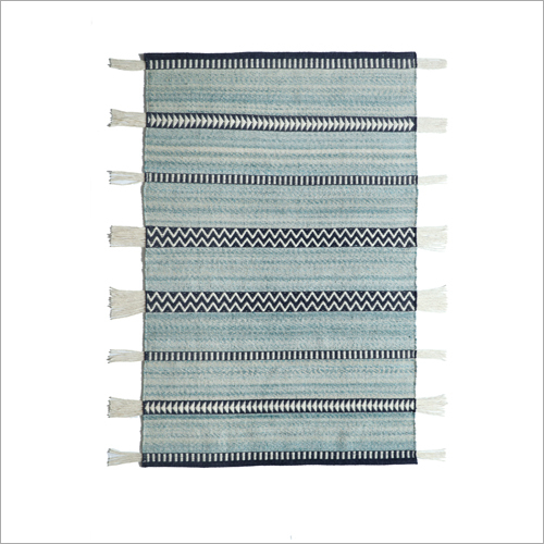 Floor Handwoven Wool and Polyester Rug