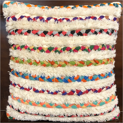 Handwoven Wool And Chindi Cushion Cover