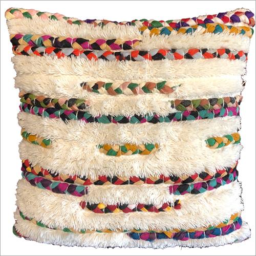Wool And Chindi Cushion Cover