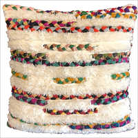 Wool And Chindi Cushion Cover
