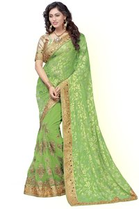 Brasso & Net Heavy Embroidered Mirror Work Half & Half Saree