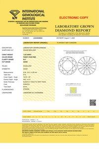 1.20ct Lab Grown Diamond CVD Vivid Pink SI2 Round Brilliant Cut IGI Crtified
