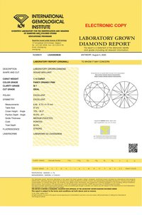 1.14ct Lab Grown Diamond CVD Pink SI1 Round Brilliant Cut IGI Crtified