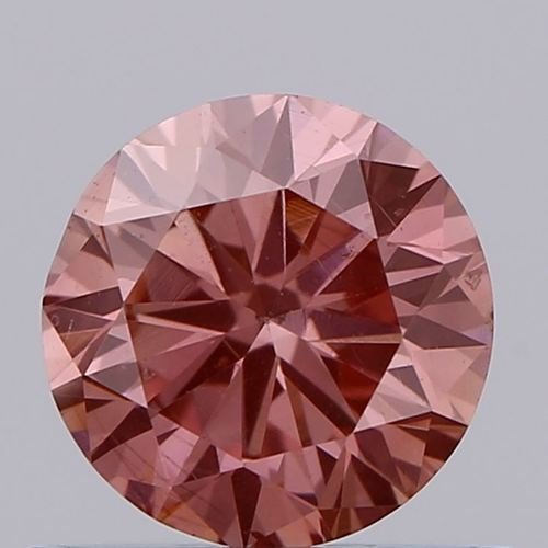 0.66ct Lab Grown Diamond CVD Brown pink SI1 Round Brilliant Cut IGI Crtified