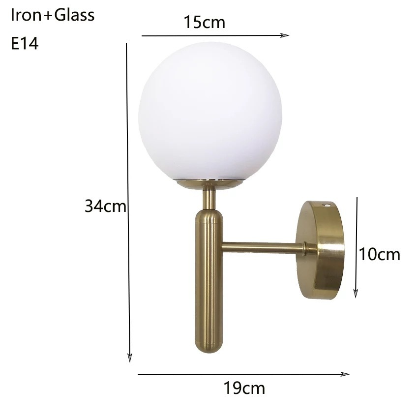 Glass Post Modern Golden Wall Lamp,Three Colour Bulb E27 (WW+NW+CW)