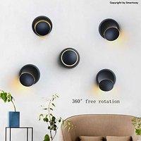 5W Wall Lamp Led,360 Degree Rotation Adjustable,Black (Warm White)