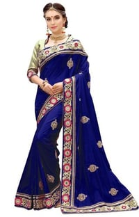 Silk  Mirror, Beads Embroidery Work Saree