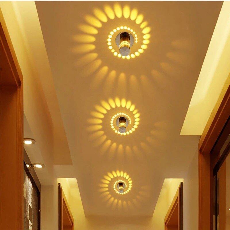 Warm White Colour,3W Spiral Decorative Wall lamp led