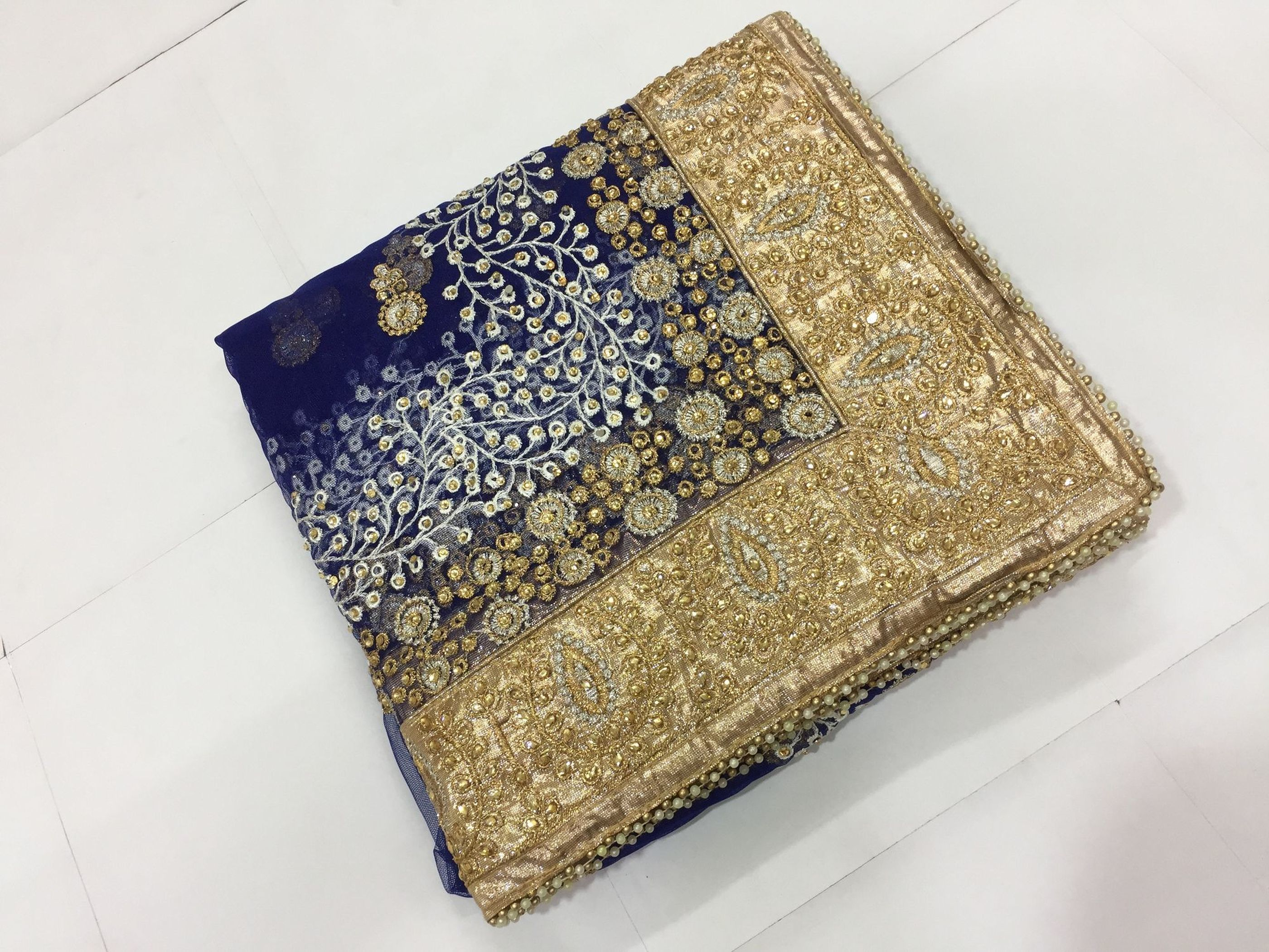 Net Heavy Embroidery Design, Stone Work Saree