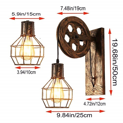 Industrial Retro Wall Lamp With Bulb (Warm White)
