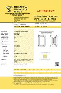 Emerald Cut 1.10ct Lab Grown Diamond CVD E VS1 IGI Crtified Stone