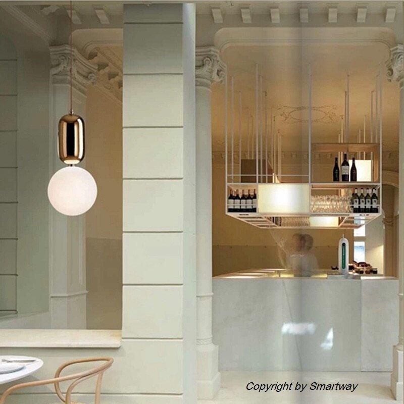 Post Modern Ball Glass Pendant Lamp Gold,E27 Bulb, 3 Colour (Warm White+Natural White+ Cold White)