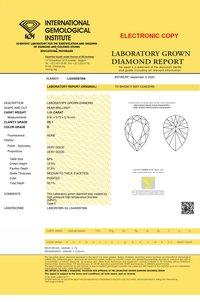 Pear Cut 1.01ct Lab Grown Diamond CVD D VS1 IGI Crtified Stone