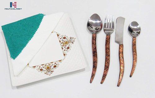 NauticalMart Wood stem silver Cutlery Set, Stainless,Medieval handmade, Dinnerware, dinner decor, farmhouse cutlery, Flatware Modern Cutlery(Set of 12)