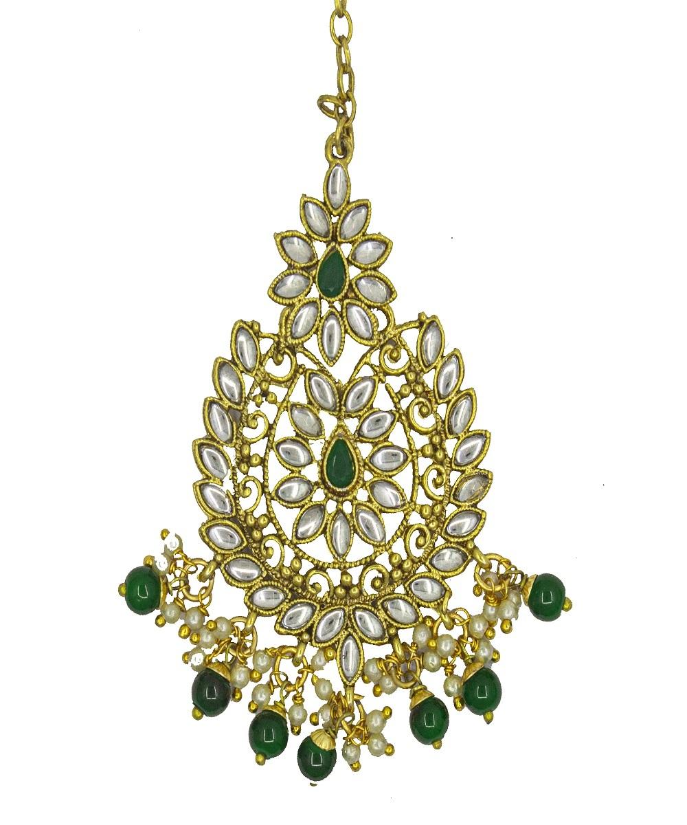 Kundan Green choker Half Bridal Gold Plated Necklace Set