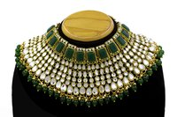 Kundan Green choker Half Bridal Gold Plated Necklace Set