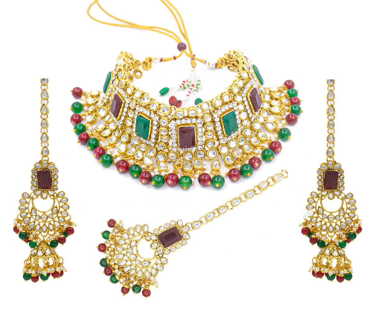 Kundan Gold Plated Necklace Set For Women (Multi Colour)