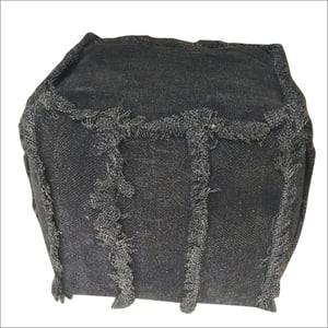 Square Knitted Wool Pouf