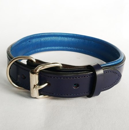 Plain Padded leather Dog and cat collar