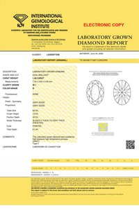 Oval Cut 1.00ct Lab Grown Diamond CVD D SI1 IGI Crtified Stone