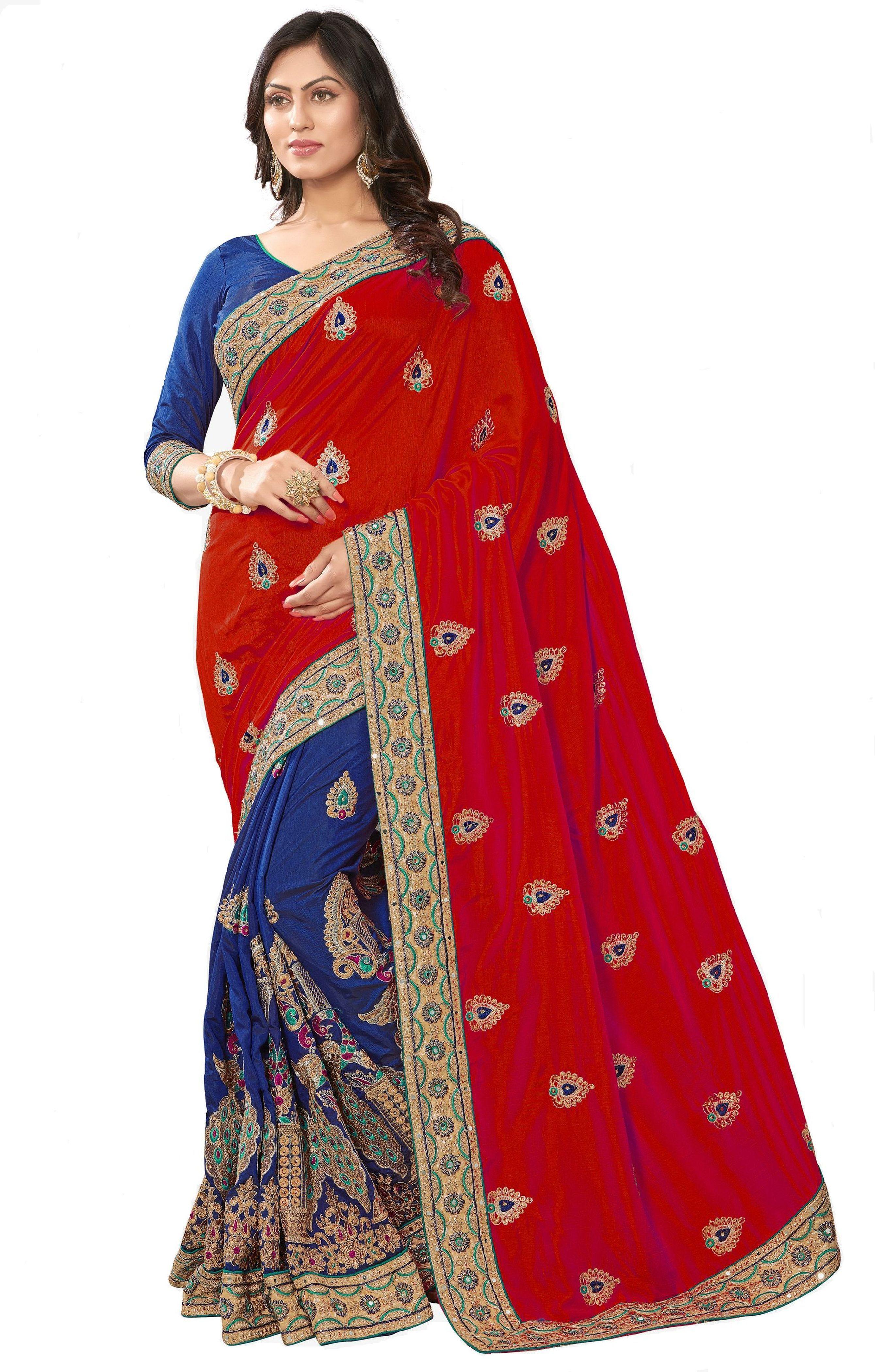 Silk Ethnic design Embroidery Work  Saree