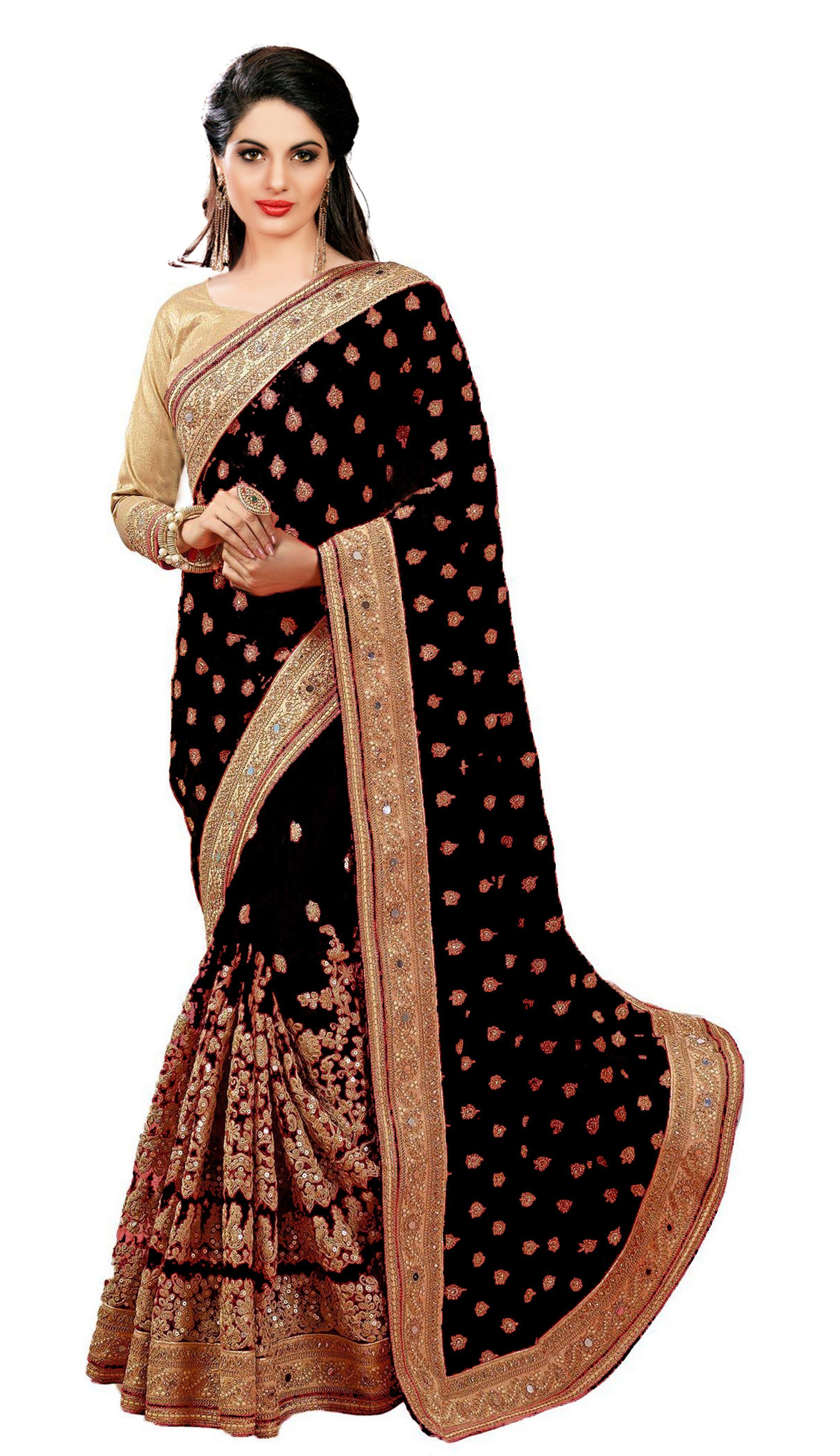 Satin & Net Heavy Embroidery design, Mirror work Saree
