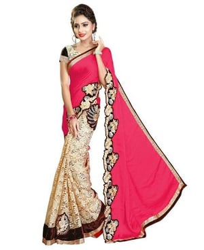 Satin & Rasal Net Embroidery Patch work Saree