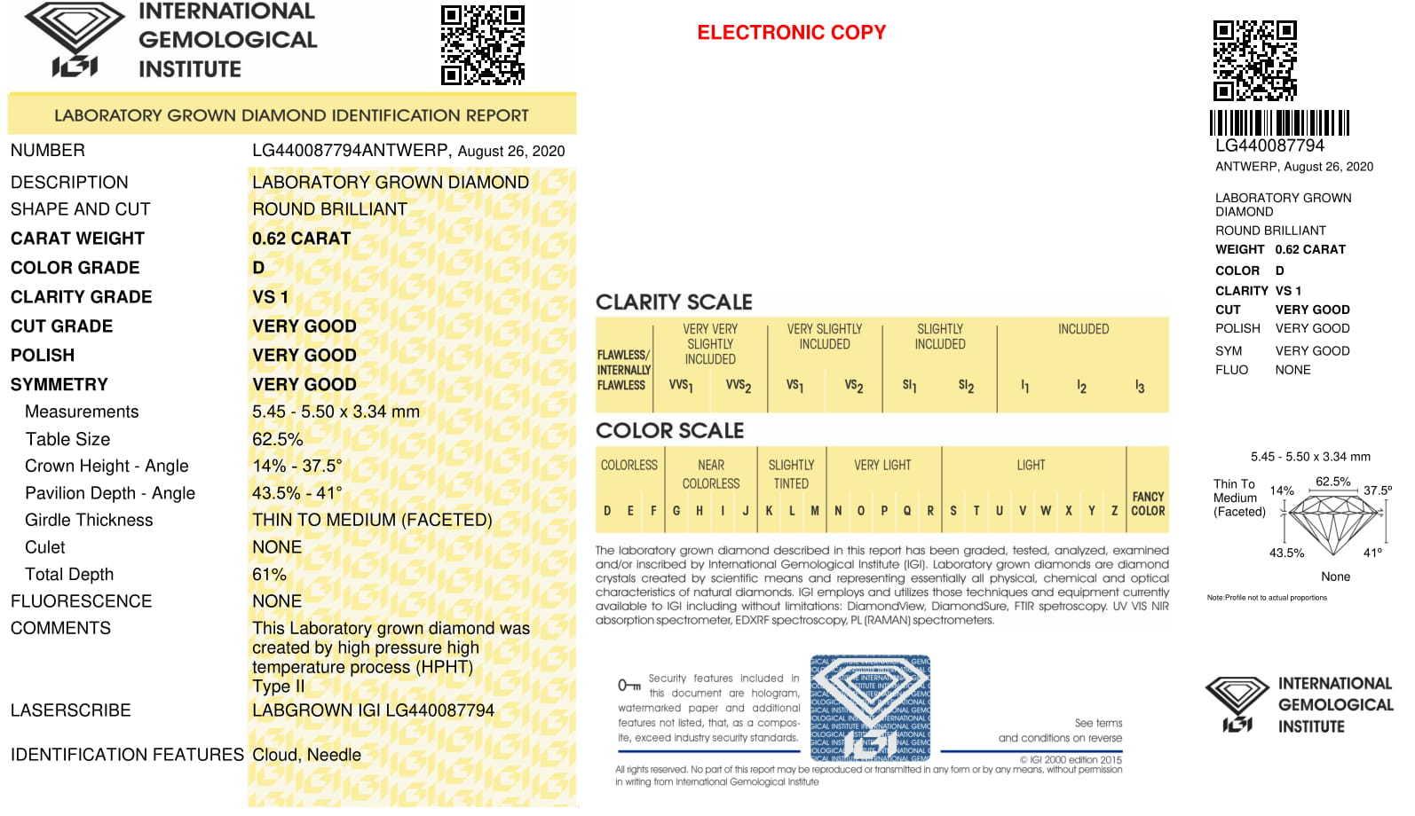 Round brilliant Cut 0.62ct Lab Grown Diamond CVD D VS1 IGI Crtified Stone