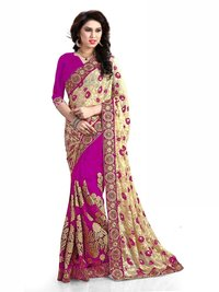 Brasso & Net Embroidery work  Saree