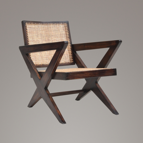 Pierre Jeanneret Cross Leg Caned Lounge Chair