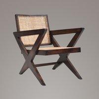 Pierre Jeanneret Cross Leg Caned Lounge Chair
