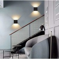 6W Led Combination Up & Down Wall Lamp Indoor (Warm White) (Black)