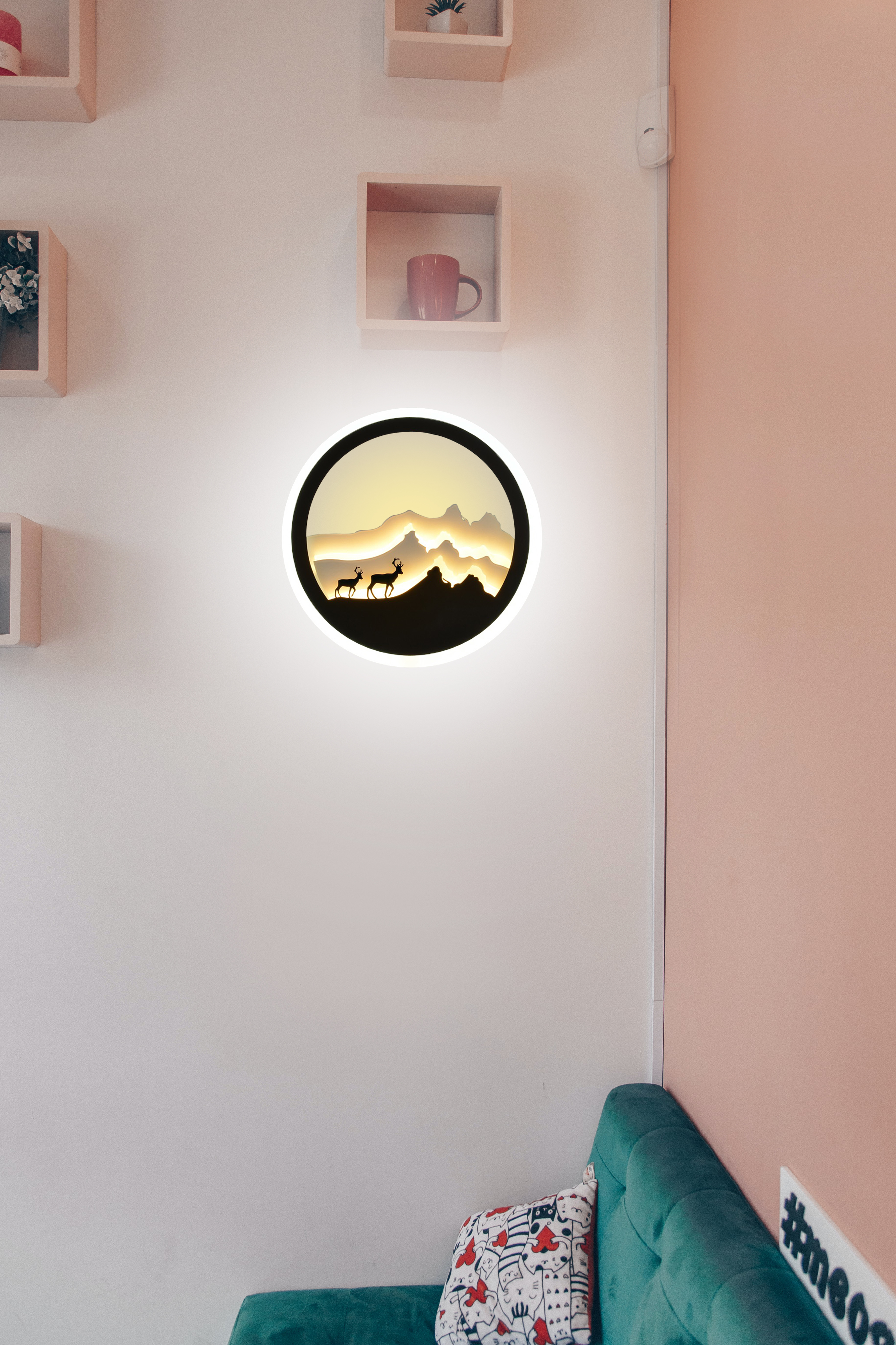 20W Mountain Deer Wall led Lamp, 3D (Warm White + Cold White)