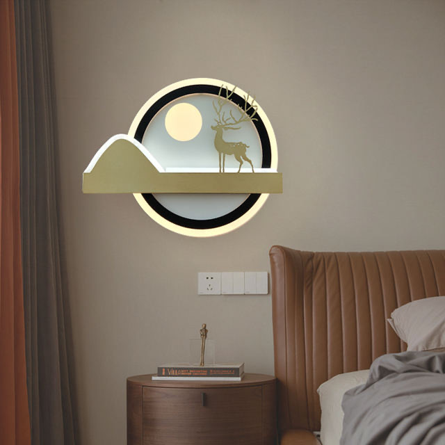 23W Sunrise Deer Wall led Lamp (Warm White + Cold White)