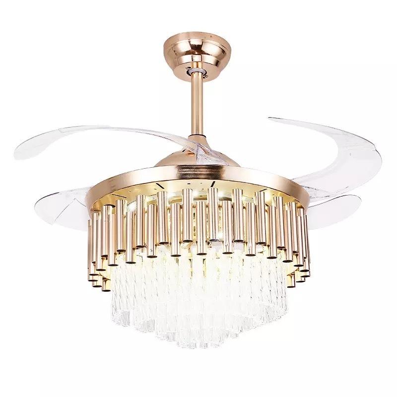 Fan chandelier with K9 crystal