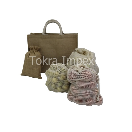Set of Jute Bag And Cotton Mesh Drawstring Bag
