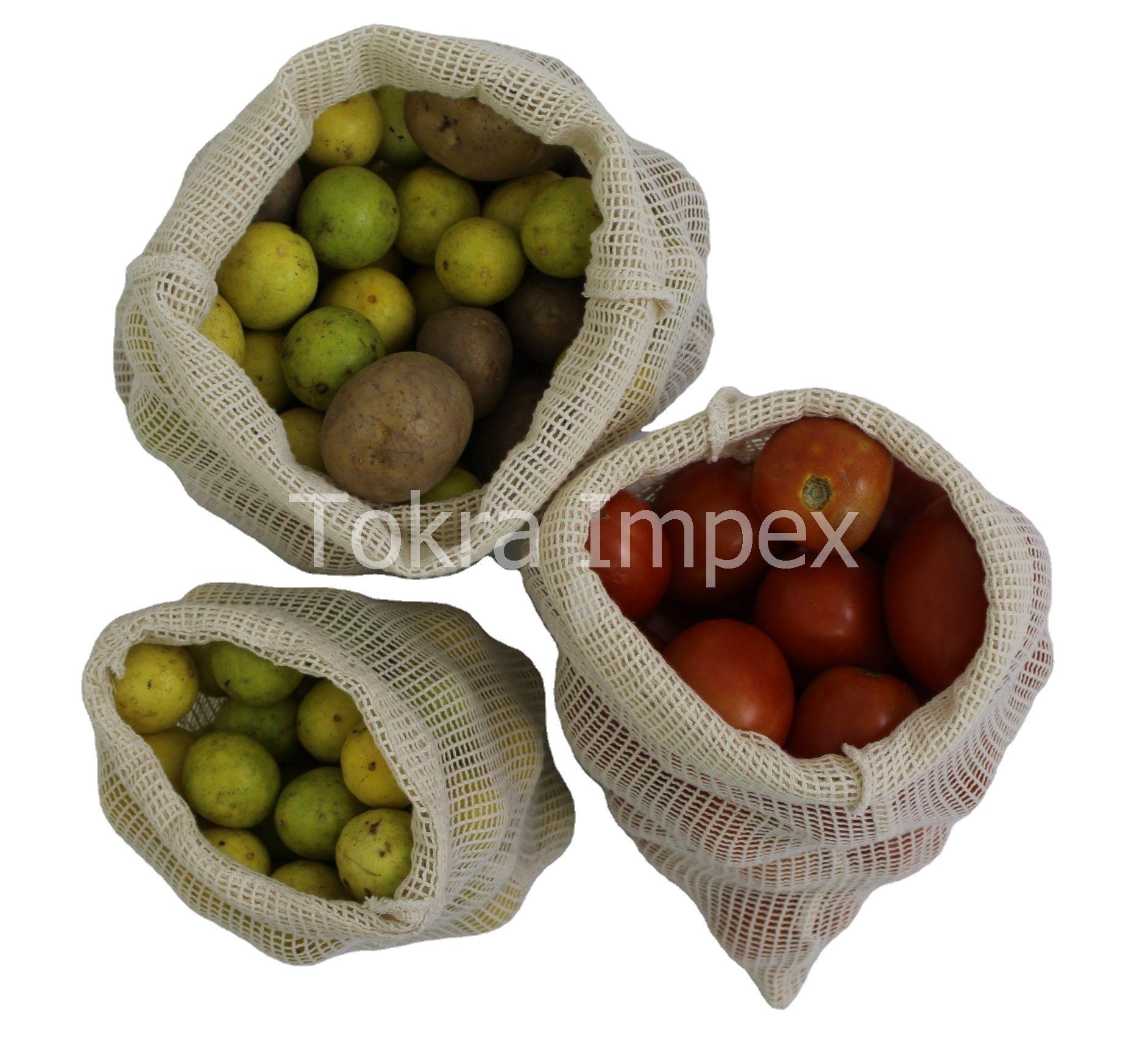 Set Of Jute Bag And Cotton Mesh Drawstring Bag
