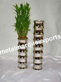 Aluminum Nickel Plated Pillar Table Top Vase