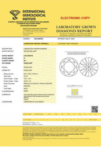 Round Brilliant Cut 2.00ct Lab Grown Diamond CVD D SI1 IGI Crtified Stone