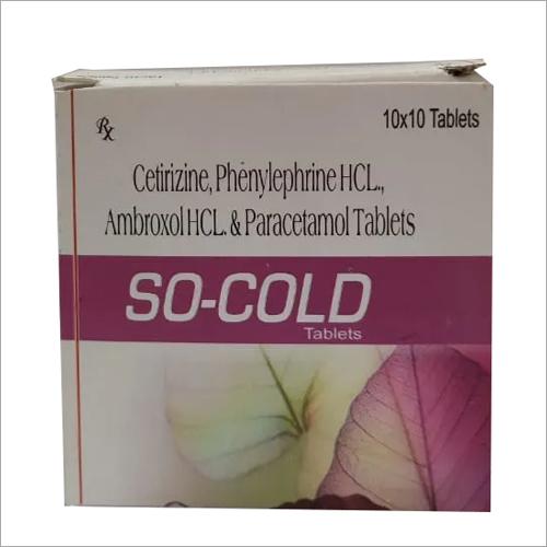 Cetirizine Phenylephrine HCL Ambroxol HCL and Paracetamol Tablets