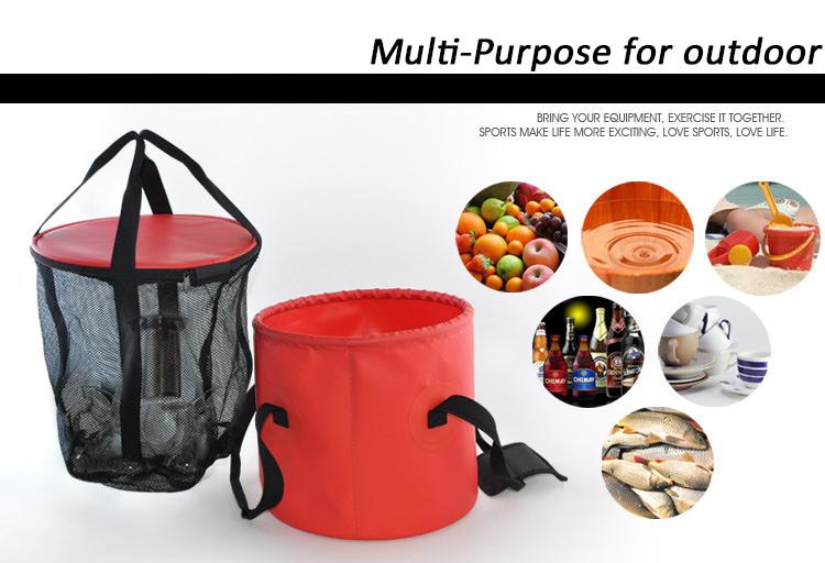 Outdoor sport multifunctional hand bucket PVC pocket folding bucket fishing container portable water breaker storage bag orange
