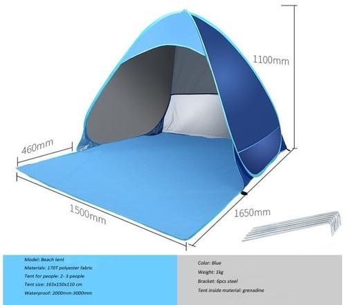 Sunshine Beach Tent outdoor Tent Ultralight Folding waterproof Pop Up Automatic Open Tourist Fish Camping UV-protective Sun Shad