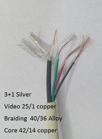 3 in 1 CCTV silver Camera Cable