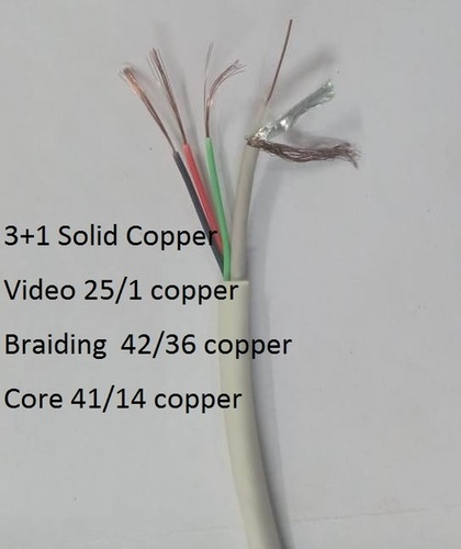 3 in 1 CCTV Solid copper Camera Cable