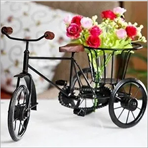 Home Decor Metal Rickshaw With Basket