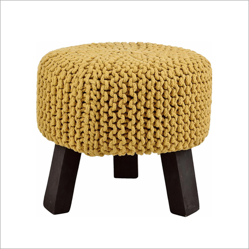 Hand Knitted Polished Legs Pouf Stool